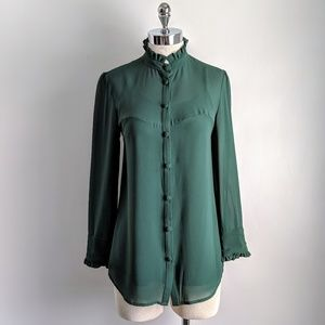 Ruffle Stand Collar Sheer Button Front Blouse